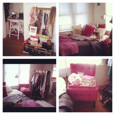 great ideas for a small space room.. i love the pink chair and i adore the mirror and the treasure box.. ♥