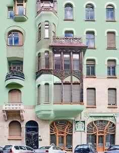 Art Nouveau style architecture in Budapest.   renovated building called Bedő-Haz,  Honvéd utca 3   District 5  1903
