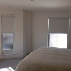 Blackout blinds are ideal for bedroom windows and help create a good sleep environment. Adding matching pelmets creates a neat finish. We made and fitted these white roller blinds for an apartment in Worthing, Sussex. Bedroom Blinds, Bedroom Windows, Blinds For Windows, White Roller Blinds, Made To Measure Blinds, Blackout Blinds, Pelmets, Beautiful Curtains