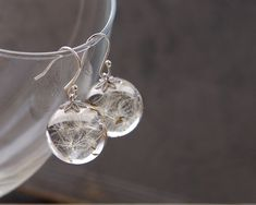 Dandelion seeds earrings  crystal resin ball by UralNature on Etsy, $52.00