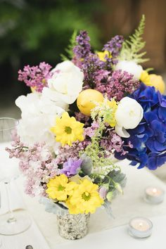 Lavender and yellow florals. Photography by kunioo.com  Read more - http://www.stylemepretty.com/2013/08/05/vancouver-wedding-inspiration-from-kunioo-sunflower-florist/