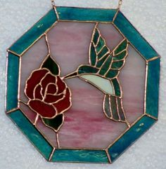 Stained glass hummingbird and rose - octagon [humbirdroseoctagon] - $85.00 : Glass Moose Cart, handcrafted glass, beads/supplies, jewelry, wood & metal art, signs
