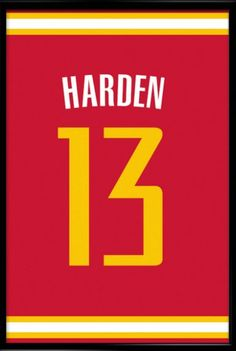 James Harden Number 13 Houston Rockets Jersey Art Print. Get 15%off with our PINTEREST15 coupon code for Pinterest users - just enter it at the check out and get a jersey art print of your favourite player with a discount! #inspirational #poster #jersey #sport #mancave #memorabilia