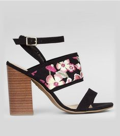 Black Floral Embroidered Panel Heeled Sandals | New Look