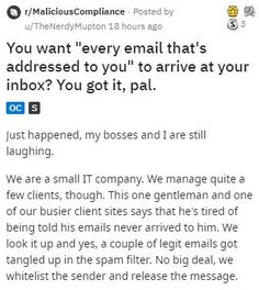 """There's nothing quite like that sweet """"I told you so feeling"""" you get when a customer gets exactly what they wanted and learns that they screwed up. #customer #client #IT #story #emails #lol"""