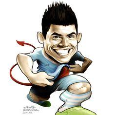 Kun Aguero/El Grafico magazine/Argentina - Football Caricatures and Illustrations by Gonza Rodriguez, via Behance