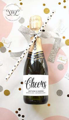 Wedding Favor Mini Champagne Labels - Weatherproof Cheers Drunk in Love Welcome Bag - Personalized Bridal Shower Thank You Gift Party Favor by LabelWithLove on Etsy https://www.etsy.com/listing/232731209/wedding-favor-mini-champagne-labels
