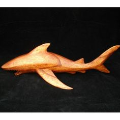Hand carved wooden shark large