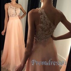 2016 elegant one shoulder lace sequins top orange chiffon prom dress for teens, long formal dress by Promdress01
