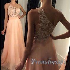 2016 elegant one shoulder lace sequins top orange chiffon prom dress for teens, long formal dress by Promdress01