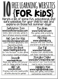 free learning sites for kids!free learning sites for kids! Learning Websites For Kids, Learning Sites, Fun Learning, Learning Tools, Classroom Websites, Children Websites, Learning Resources, Teacher Websites, Preschool Learning