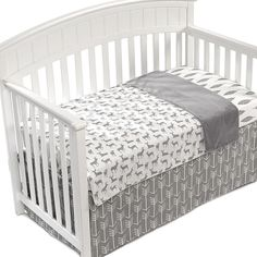 "Create a modern yet rustic nursery with Liz and Roo's Woodland Crib Bedding Collection. This ""Grow with Me"" Reversible Oversized Blanket features darling deer reversing to cuddly fleece, and transitions with your little one. Crib Bedding Boy, Baby Bedding Sets, Grey Bedding, Luxury Bedding, Woodland Baby Bedding, Woodland Nursery, Woodland Theme, Rustic Nursery, Grey Crib"