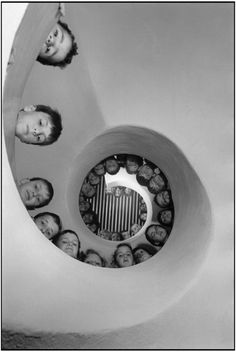 "Martine Franck. FRANCE. Clamart. Library for children. Built by the ""Atelier de Montrouge"": Jean Renaudie, Pierre Riboulet, Gerard Thurnauer and Jean-Louis Veret. Ile de France. Haut de Seine. 1965."