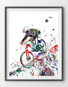 Mountain Biker watercolor print Off-Road Bicycling print