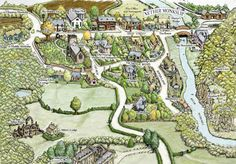 Rhys Davies - Map of the Fictional village of Nether Monkslip featured in Wicked Autumn, by G.M. Malliet