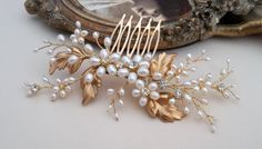 Gold freshwater pearl comb  crystals and pearls comb by ZTetyana