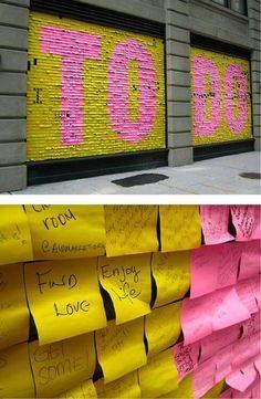 To Do List - NYC public art installation - Post It (love this!)To Do List - NYC public art installation - Post It (love this! Interactive Installation, Interactive Art, Street Installation, Interactive Exhibition, Interactive Display, Exhibition Display, Exhibition Space, Paper Installation Art, Artistic Installation