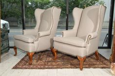 Pair of Grey Linen and Nailhead Wing Chairs | From a unique collection of antique and modern wingback chairs at http://www.1stdibs.com/furniture/seating/wingback-chairs/