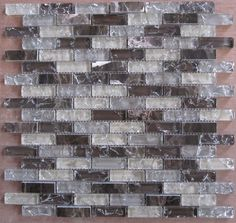 """5/8""""x2"""" Ice crackle glass mosaic tile with stone(SBH017)"""