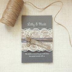 Wedding invitation Rustic Lace wedding by StunningStationery