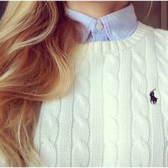 Polo knitted sweater over a collared shirt for a sophisticated but comfortable look.