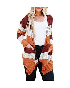 Womens Long Sleeve Casual Striped Cardigan Color Block Knit Open Front Sweater Coat… at Amazon Women's Clothing store Sweater Coats, Sweaters, Striped Cardigan, Vest, Amazon, Knitting, Store, Long Sleeve, Casual