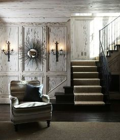 Is Paneling Walls good for Home Improvement? Pecky Cypress Paneling, Veranda Magazine, Country Living Magazine, Atlanta Homes, Cabin Design, Wainscoting, House And Home Magazine, Wall Treatments, Beautiful Homes