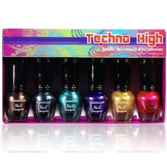 KLEANCOLOR Techno High  Metallic Nail Lacquer Mini Collection NPC592 *** Continue to the product at the image link.Note:It is affiliate link to Amazon.