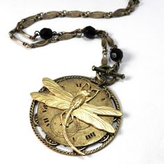 Clockwork Necklace - Metallic Watch Dial - Gold Dragonfly  by Compass Rose Design JULY 4TH SALE! Save 25% through Monday on our handmade vintage designs for ladies and men! Almost 100 new items in the shop to choose from!!!! http://www.compassrosedesignjewelry.com/ sale code: FIREWORKS