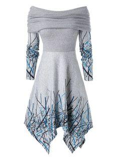 Buy Now! Plus Size Off Shoulder Foldover Graffiti Hanky Hem Dress Fall Dresses, Pretty Dresses, Elegant Dresses, Dresses For Tweens, Classy Dress, The Dress, Dress Long, Casual Fall, Plus Size Dresses