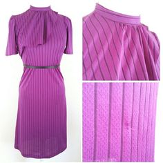 """*vintage* beautiful striped dress beautiful purple striped dress with high neck, draping detail and banded waist {belt not included} (small snags/picks throughout, possibly fixable). Brand: unknown. Size: unknown, fits 6/8 (B:16.5"""" W:15.5"""" H:18"""" L:40"""" N:6"""" A:6.25"""") - #DRESS15.6 Vintage Dresses"""