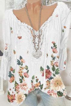 Holiday Floral Print Paneled Lace V-neck Drawstring Blouse - Shopingnova Floral Tops, Floral Prints, Thing 1, Spring And Fall, Types Of Sleeves, Blouses For Women, Going Out, Shirt Designs, V Neck