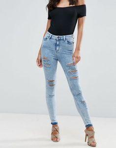 ASOS RIDLEY Skinny Jeans in Sebastian Light Acid Wash with Shredded Rips and Let-Down Hem