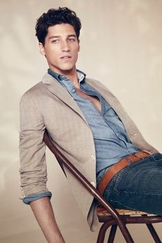 Lacoste...men's style...denim on denim worn with a tan casual blazer