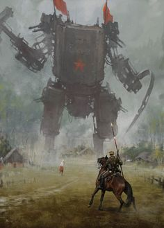Jakub Rozalski's series called 1920+ sees deadly machines roaming the countryside during the Polish-Soviet War.