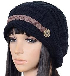 326b5b28440cd4 Carvian Slouchy Cabled Knit Winter Beanie Crochet Hat Snowboarding, Skiing, Knitted  Hats, Crochet