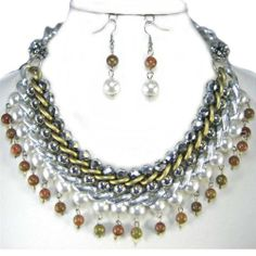 Chunky Silver Gold Cream Pearl Fireball Statement Necklace Set Costume Jewelry