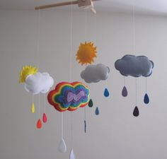Rainbow Felt Mobile Wool Felt Baby Mobile for by GracesFavours, £60.00