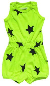 NUNUNU Short Romper Star neon yellow