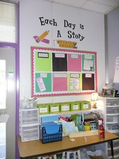 writing station... I like how each different style of writing is put up as its introduced...