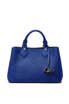 Our petite Voyage On-the-Go tote returns, just in time for 4th of July! Perforated saffiano leather in a patriotic shade gives this polished silhouette a playful feel. Combining form and function, this top handle tote is an indispensable addition to any wardrobe. Features side snaps for expansion, a bold detachable logo tag, detachable crossbody strap, magnetic top closure, two large pockets, a center zip pocket and two side inner slit pockets.