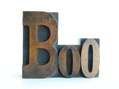 BOO Vintage Wood Letterpress Type Set by MonkiVintage on Etsy