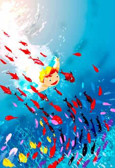 _Come on Colin, time to get out of the bath.. _In a minuteeeeeeeeeeeeeeee! #pascalcampionart. I know I did one like that not very long ago, but we just watched Flipper the Dolphin and the kids want to go diving now