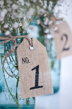 Burlap Table Number  - table number tags  - Rustic Wedding