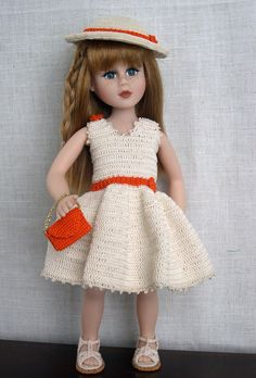 "14 inch Doll Clothes  Handmade crochet outfit made to fit 14"" dolls such as Betsy McCall  Faith & Friends doll by Robin Woods is modeling this crochet doll dress hat and purse made from the pattern booklet Summer Days published by American School of Needlework  The sandals are my own design (made by Barb Marlee)"