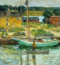 Oyster Sloop, Cos Cob Frederick Childe Hassam