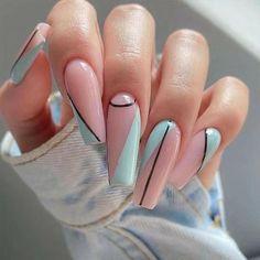 Acrylic Nail Tips, Acrylic Nails Coffin Short, Cute Acrylic Nails, Glue On Nails, Coffin Acrylic Nails, Acrylic Nails Designs Short, Pastel Nail Art, Short Square Acrylic Nails, Pink Nail Art