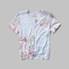 girls patchwork crew tee   a classic tee with atypical patchwork, featuring a knot detail at hem and a cute logo embroidery, easy fit   abercrombiekids.com