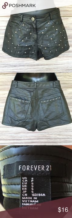 BOGO SALE! Faux Leather shorts with silver studs Perfect condition. Super cute. Forever 21 Shorts