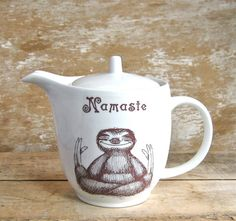 Namaste Sloth Teapot, DISCOUNTED SECOND Five Cup Tea Pot, Meditating Sloth, Ready to Ship